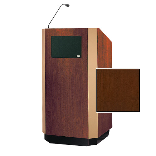 "Da-Lite Yorkshire Special Needs Adjustable Floor Lectern with Microphone and Premium Sound System (42"", Cherry Veneer, Brass Trim, 220V)"