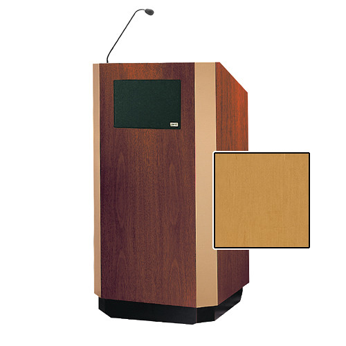 "Da-Lite Yorkshire 42"" Special Needs Floor Lectern with Gooseneck Microphone and Electric Height Adjustment (Honey Maple Veneer, Brass Trim)"