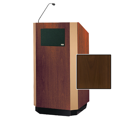 "Da-Lite Yorkshire 42"" Special Needs Floor Lectern with Gooseneck Microphone and Electric Height Adjustment (Heritage Walnut Veneer, Brass Trim)"