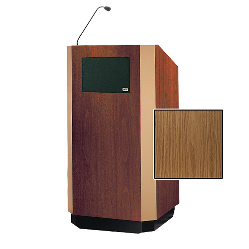 "Da-Lite Yorkshire 42"" Special Needs Floor Lectern with Gooseneck Microphone and Electric Height Adjustment (Light Oak Veneer, Bronze Trim)"