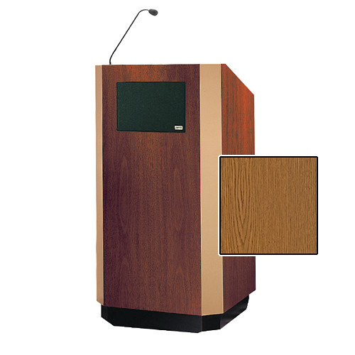 "Da-Lite Yorkshire 42"" Special Needs Floor Lectern with Gooseneck Microphone and Electric Height Adjustment (Medium Oak Veneer, Brass Trim)"