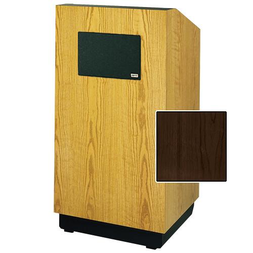 "Da-Lite Lexington 42"" Multimedia Floor Lectern with AmpliVox Sound System (Standard Heritage Walnut Veneer)"