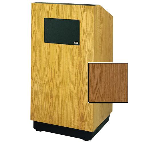 "Da-Lite Lexington 42"" Multimedia Floor Lectern with AmpliVox Sound System (Standard Medium Oak Veneer)"