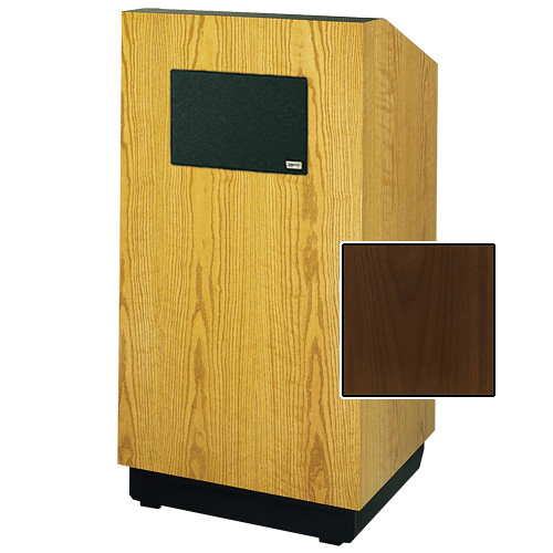 "Da-Lite Lexington 42"" Multimedia Floor Lectern with AmpliVox Sound System (Standard Natural Walnut Veneer)"