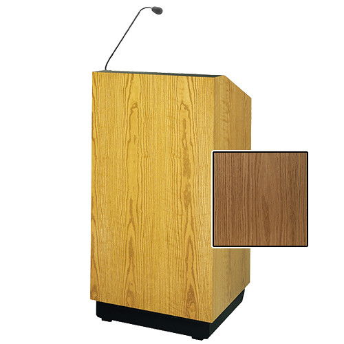 "Da-Lite Lexington 48"" Multi-Media Lectern with Gooseneck Microphone (Light Oak Veneer)"