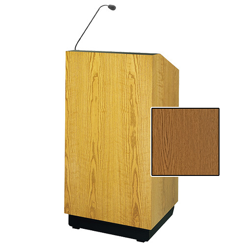 "Da-Lite Lexington 48"" Multi-Media Lectern with Gooseneck Microphone (Medium Oak Veneer)"