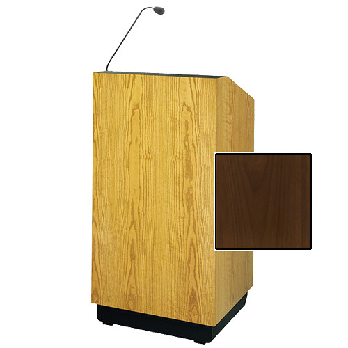 "Da-Lite Lexington 48"" Multi-Media Lectern with Gooseneck Microphone (Natural Walnut Veneer)"