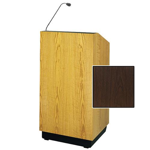 "Da-Lite Lexington 32"" Multi-Media Lectern with Gooseneck Microphone (Gunstock Walnut Laminate)"