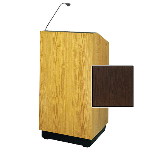 "Da-Lite Lexington 32"" Multi-Media Lectern with Gooseneck Microphone (Gunstock Walnut Laminate)"