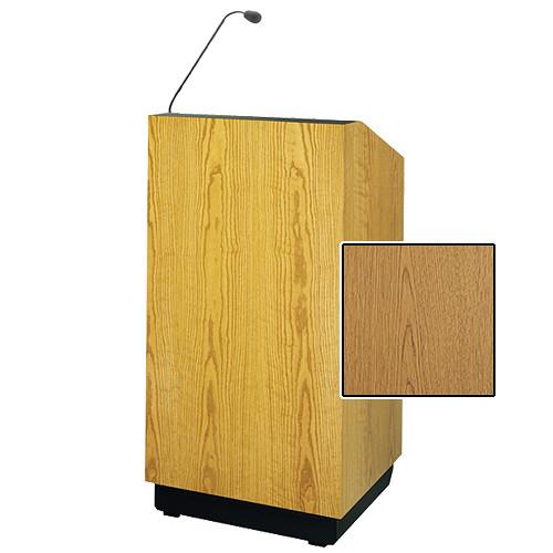 """Da-Lite Lexington 32"""" Multi-Media Lectern with Gooseneck Microphone (Light Oak Laminate)"""