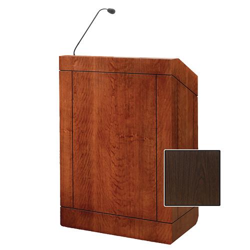 "Da-Lite Providence 32"" Multi-Media Floor Lectern with Gooseneck Microphone (Gunstock Walnut Laminate)"