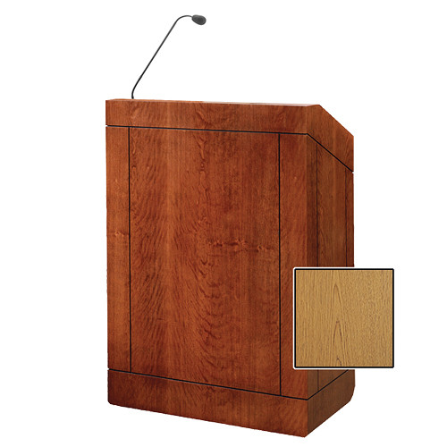 "Da-Lite Providence 32"" Multi-Media Floor Lectern with Gooseneck Microphone (Light Oak Laminate)"