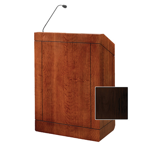 "Da-Lite Providence 32"" Multi-Media Floor Lectern with Gooseneck Microphone (Mahogany Laminate)"
