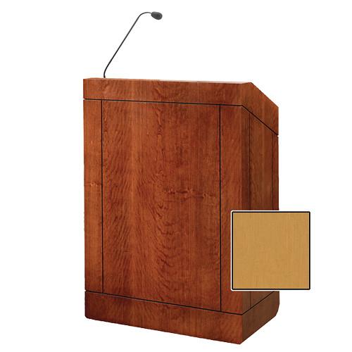 "Da-Lite Providence 32"" Multi-Media Floor Lectern with Gooseneck Microphone (Honey Maple Veneer)"