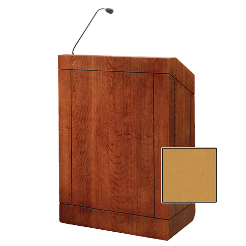 "Da-Lite Providence 32"" Multi-Media Floor Lectern with Gooseneck Microphone (Honey Maple Veneer)"