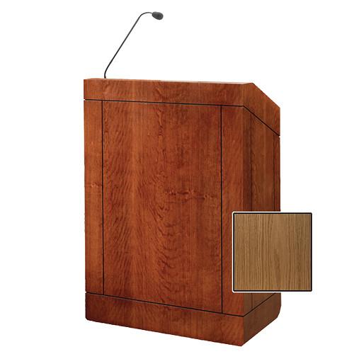 "Da-Lite Providence 32"" Multi-Media Floor Lectern with Gooseneck Microphone (Light Oak Veneer)"