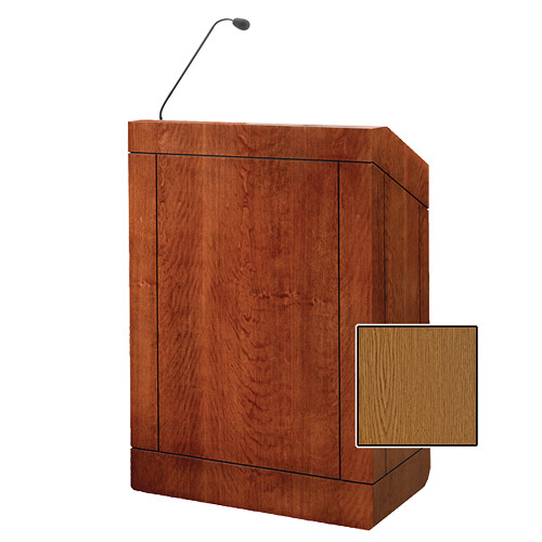 "Da-Lite Providence 32"" Multi-Media Floor Lectern with Gooseneck Microphone (Medium Oak Veneer)"
