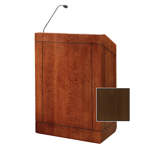 "Da-Lite Providence 32"" Multi-Media Floor Lectern with Gooseneck Microphone (Natural Walnut Veneer)"