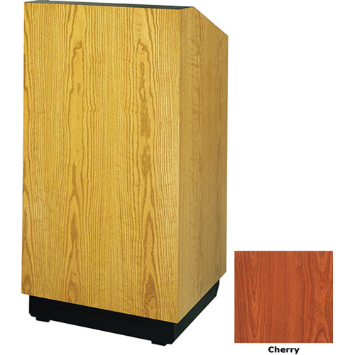 "Da-Lite Lexington 32"" Floor Lectern with Electric Height Adjustment and Gooseneck Microphone (Cherry Veneer)"