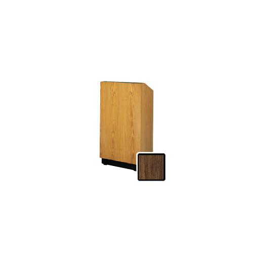 """Da-Lite Lexington 32"""" Floor Lectern with Electric Height Adjustment and Gooseneck Microphone (Heritage Walnut Veneer)"""