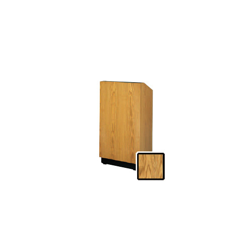 "Da-Lite Lexington 32"" Floor Lectern with Electric Height Adjustment and Gooseneck Microphone (Medium Oak Veneer)"