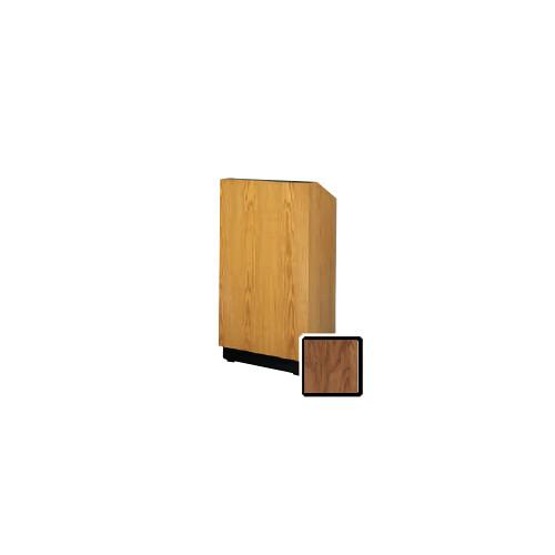 "Da-Lite Lexington 32"" Floor Lectern with Electric Height Adjustment and Gooseneck Microphone (Natural Walnut Veneer)"