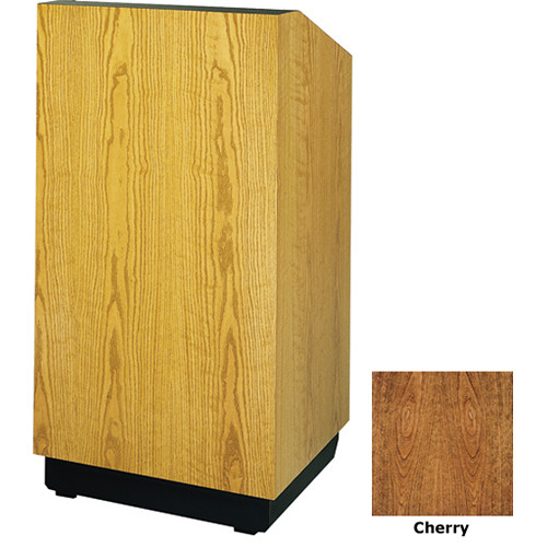 "Da-Lite Lexington 25"" Floor Lectern with Electric Height Adjustment and Gooseneck Microphone (Cherry Laminate)"