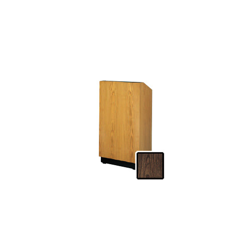 "Da-Lite Lexington 25"" Floor Lectern with Electric Height Adjustment and Gooseneck Microphone (Gunstock Walnut Laminate)"