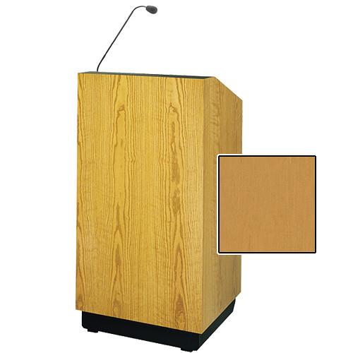 "Da-Lite Lexington 32"" Floor Lectern with Gooseneck Microphone (Honey Maple Veneer)"