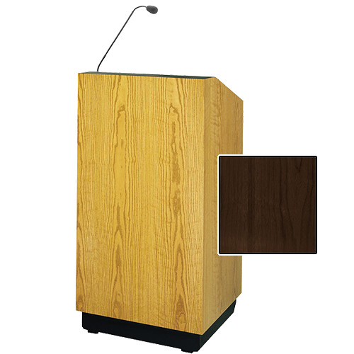 """Da-Lite Lexington 32"""" Floor Lectern with Gooseneck Microphone (Heritage Walnut Veneer)"""