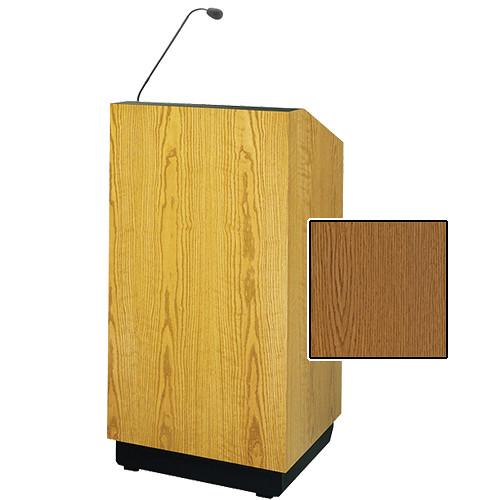 "Da-Lite Lexington 32"" Floor Lectern with Gooseneck Microphone (Medium Oak Veneer)"