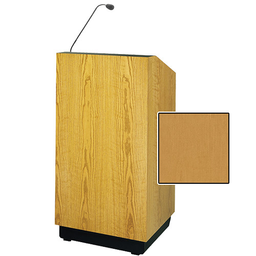 "Da-Lite Lexington 25"" Floor Lectern with Gooseneck Microphone (Honey Maple Veneer)"