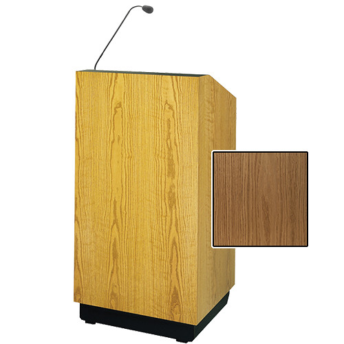 "Da-Lite Lexington 25"" Floor Lectern with Gooseneck Microphone (Light Oak Veneer)"