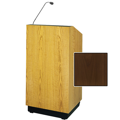 "Da-Lite Lexington 25"" Floor Lectern with Gooseneck Microphone (Natural Walnut Veneer)"