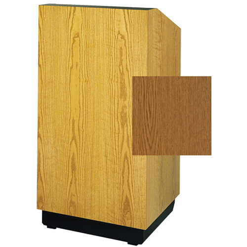 "Da-Lite Lexington 25"" Stacking Lectern with Gooseneck Microphone (Medium Oak Veneer)"