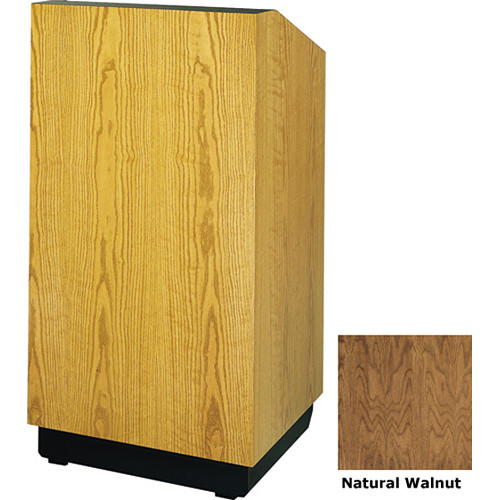 "Da-Lite Lexington 25"" Stacking Lectern with Gooseneck Microphone (Natural Walnut Veneer)"