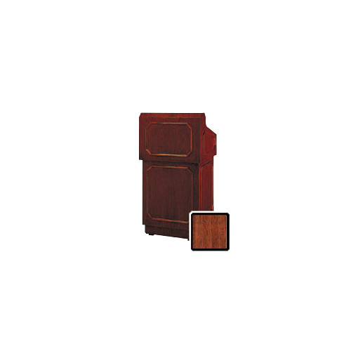 "Da-Lite Hamilton 32"" Floor Lectern with Electric Height Adjustment and Gooseneck Microphone (Mahogany Veneer)"