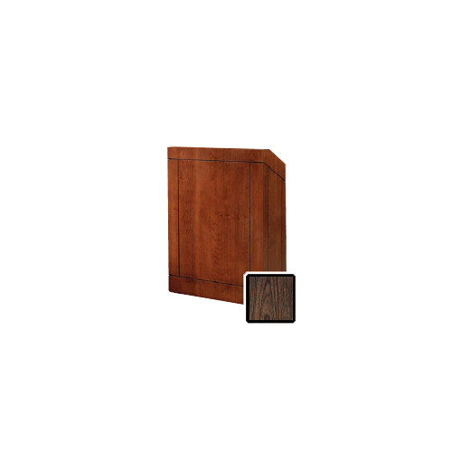 "Da-Lite Providence 32"" Floor Lectern with Electric Height Adjustment and Gooseneck Microphone (Gunstock Walnut Laminate)"