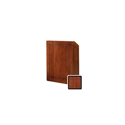 "Da-Lite Providence 32"" Floor Lectern with Electric Height Adjustment and Gooseneck Microphone (Mahogany Veneer)"