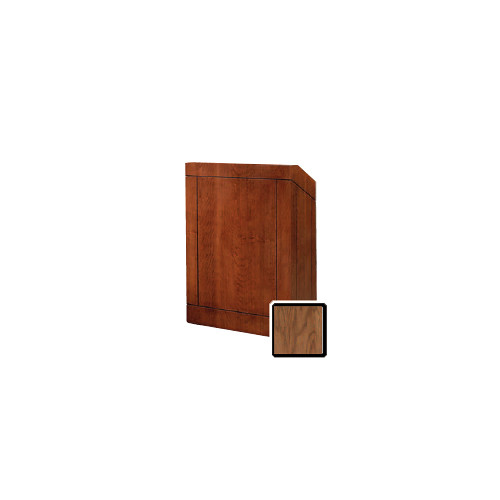 "Da-Lite Providence 25"" Floor Lectern with Electric Height Adjustment and Gooseneck Microphone (Natural Walnut Veneer)"