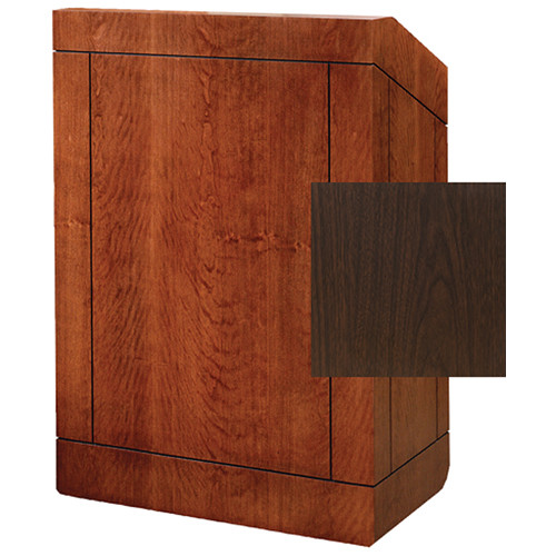 "Da-Lite Providence 42"" Special Needs Floor Lectern with Electric Height Adjustment & Sound System (Standard Gunstock Walnut Laminate)"