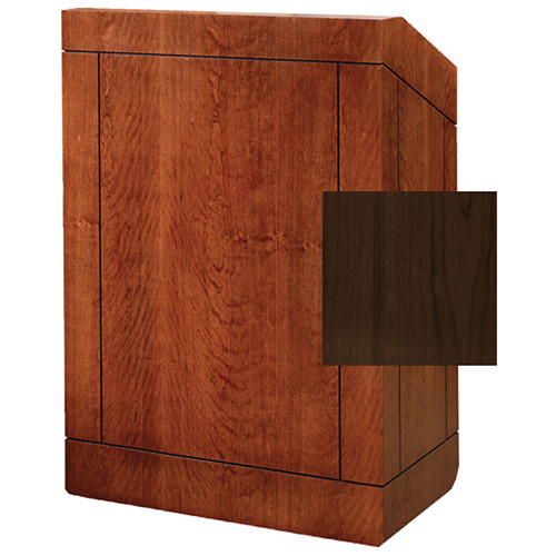 "Da-Lite Providence 42"" Special Needs Floor Lectern with Sound System & Height Adjustment (Standard Heritage Walnut Veneer)"