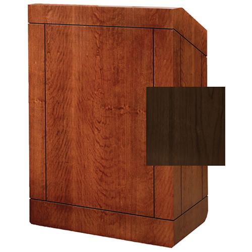 "Da-Lite Providence 42"" Special Needs Floor Lectern with Sound System & Height Adjustment (Standard Heritage Walnut Veneer)"