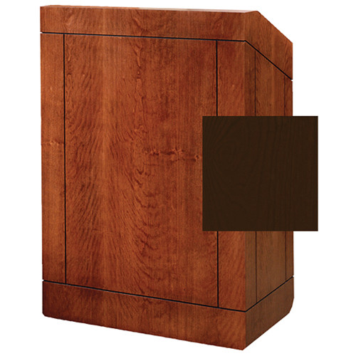 """Da-Lite Providence 42"""" Special Needs Floor Lectern with Sound System & Height Adjustment (Standard Mahogany Veneer)"""