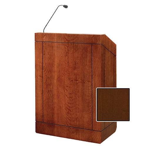 "Da-Lite Providence 42"" Multi-Media Lectern with Gooseneck Microphone (Cherry Veneer)"