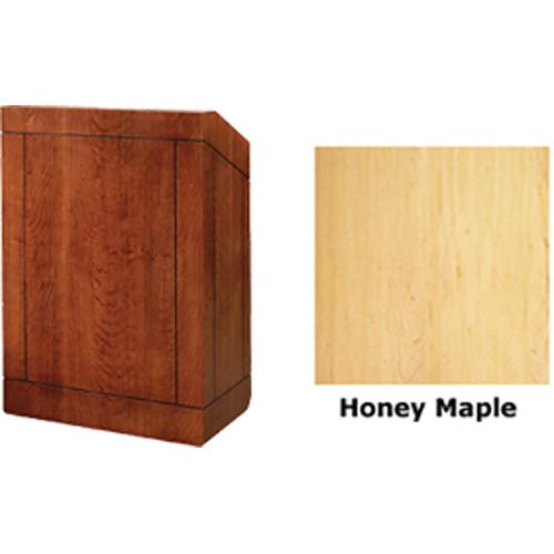 "Da-Lite Providence 48"" Multi-Media Lectern with Gooseneck Microphone (Honey Maple Veneer)"