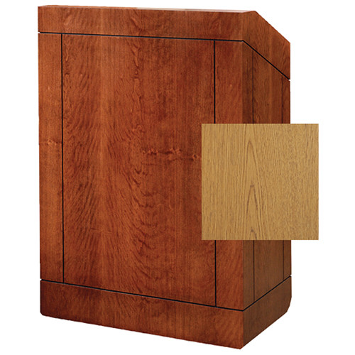 "Da-Lite Providence 25"" Stacking Lectern with Gooseneck Microphone (Light Oak Laminate)"