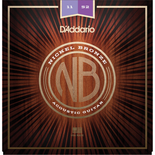 D'Addario NB1152 Custom Light Nickel Bronze Acoustic Guitar Strings (6-String Set, 11-52)
