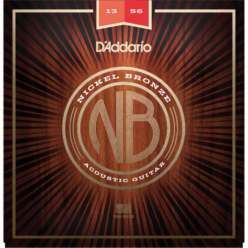 D'Addario NB1356 Medium Nickel Bronze Acoustic Guitar Strings (6-String Set, 13-56)