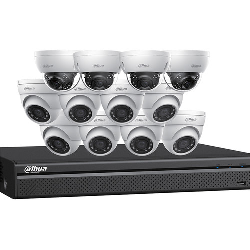 Dahua Technology 16-Channel 12MP NVR with 4TB HDD and 8 4MP Mini Turret Cameras and 4 8MP Mini Dome Cameras